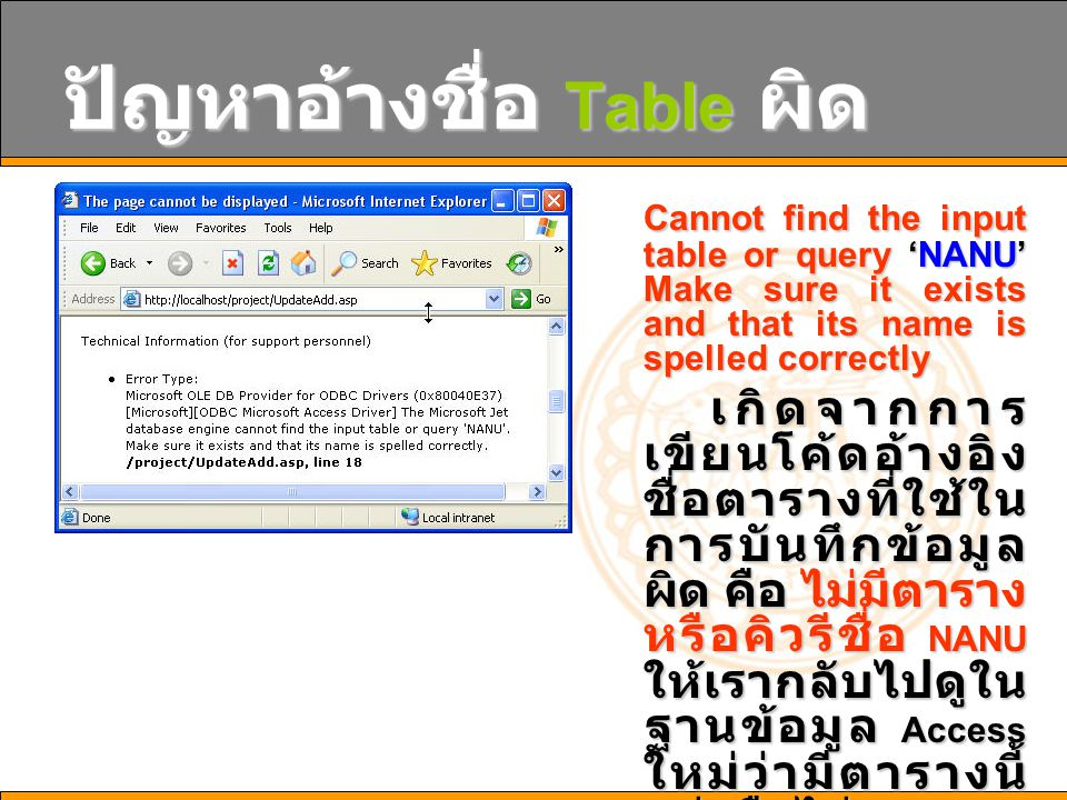 ปัญหาอ้างชื่อ Table ผิด Cannot find the input table or query 'NANU' Make sure it exists and that its name is spelled correctly เกิดจากการ เขียนโค้ดอ้า