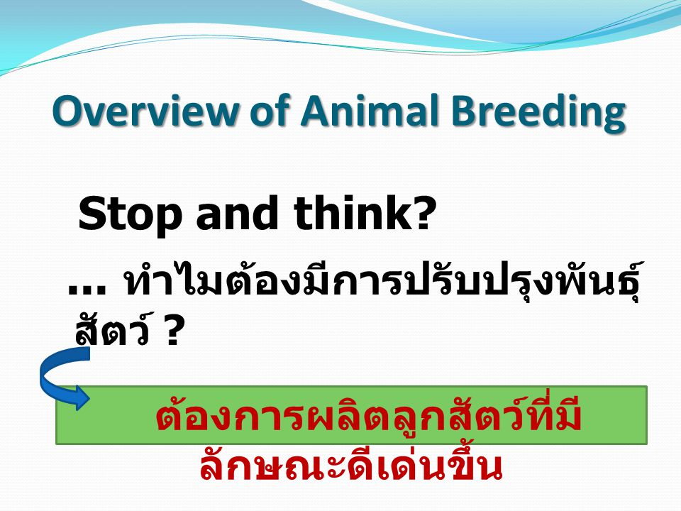 Animal Breeding : หลักการปรับปรุงพันธุ์สัตว์ 1) การคัดเลือกพันธุ์สัตว์ (Selection) Phenotypic selection Breeding value selection (Genetic) 2) การผสมพันธุ์สัตว์ (Mating) Inbreeding ( มีความเป็นเครือ ญาติกัน ) Cross breeding ( ไม่เป็นเครือญาติ / ผสมข้าม )