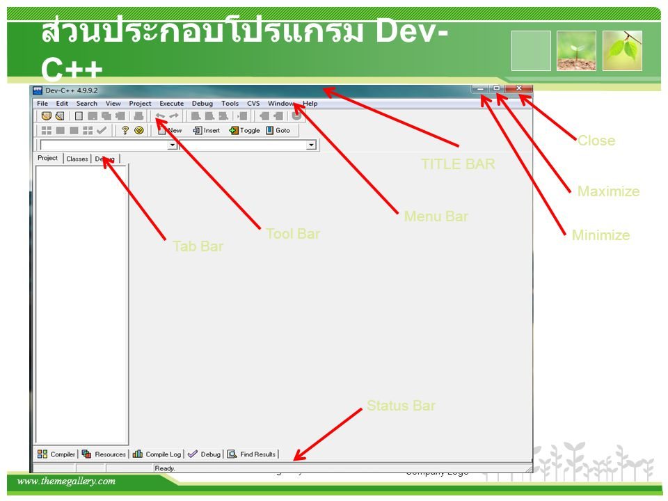 www.themegallery.com Company Logo ส่วนประกอบโปรแกรม Dev- C++ TITLE BAR Menu Bar Close Maximize Minimize Tool Bar Status Bar Tab Bar