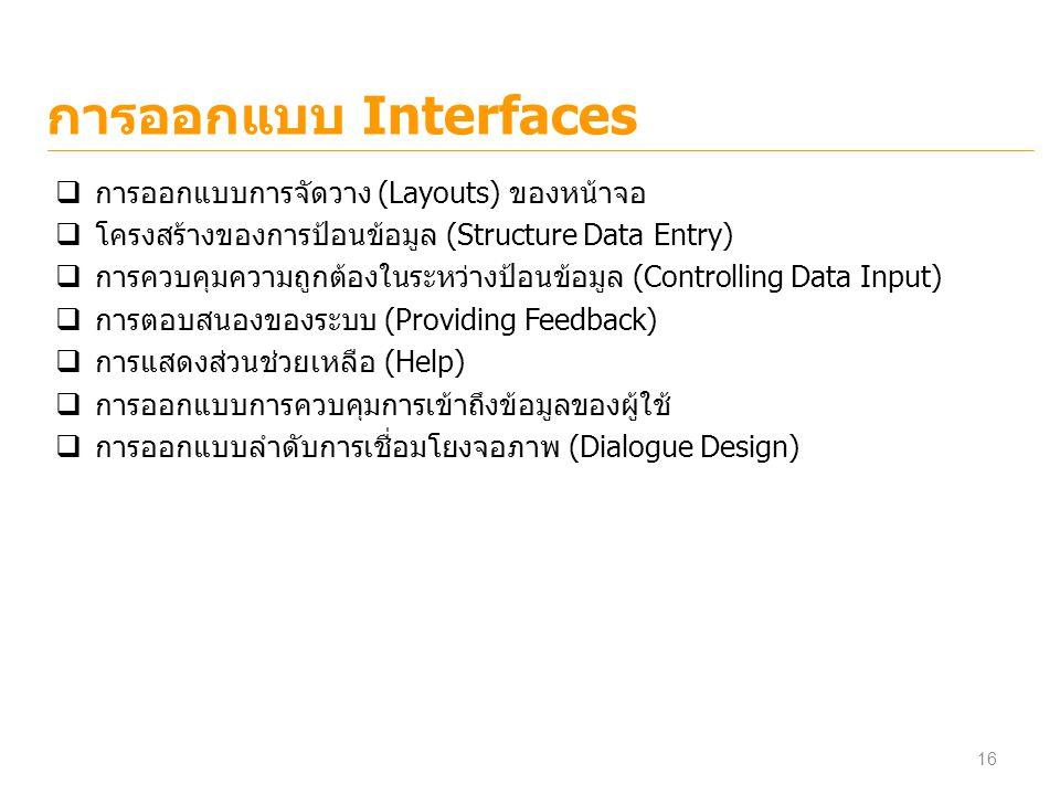 การออกแบบ Interfaces  การออกแบบการจัดวาง (Layouts) ของหน้าจอ  โครงสร้างของการป้อนข้อมูล (Structure Data Entry)  การควบคุมความถูกต้องในระหว่างป้อนข้