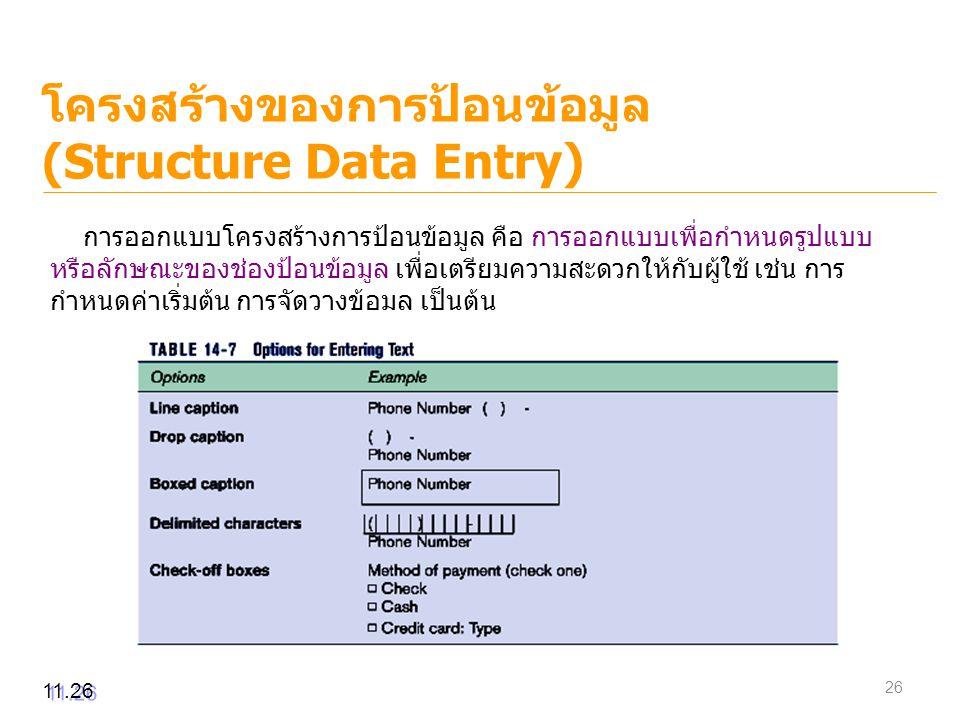 โครงสร้างของการป้อนข้อมูล (Structure Data Entry) 11.26 การออกแบบโครงสร้างการป้อนข้อมูล คือ การออกแบบเพื่อกำหนดรูปแบบ หรือลักษณะของช่องป้อนข้อมูล เพื่อ