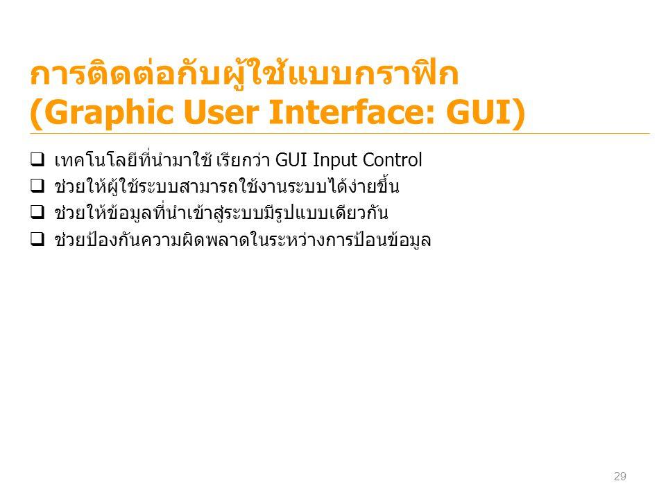 การติดต่อกับผู้ใช้แบบกราฟิก (Graphic User Interface: GUI)  เทคโนโลยีที่นำมาใช้ เรียกว่า GUI Input Control  ช่วยให้ผู้ใช้ระบบสามารถใช้งานระบบได้ง่ายข