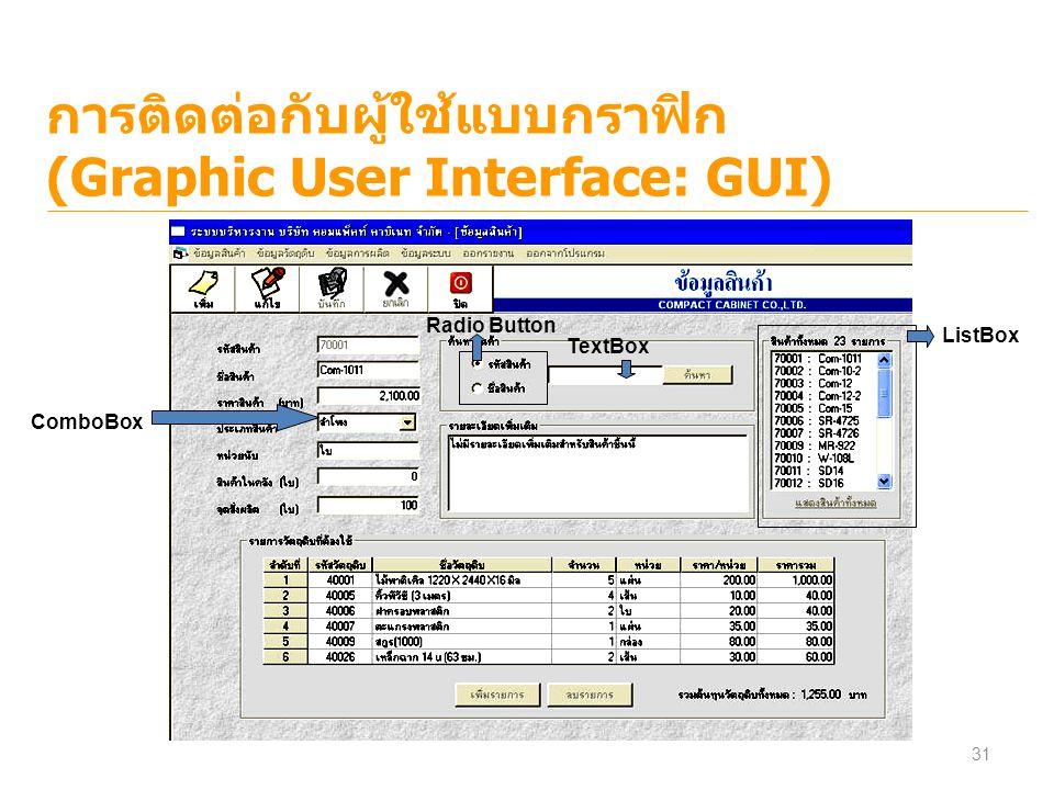 การติดต่อกับผู้ใช้แบบกราฟิก (Graphic User Interface: GUI) ListBox TextBox Radio Button ComboBox 31