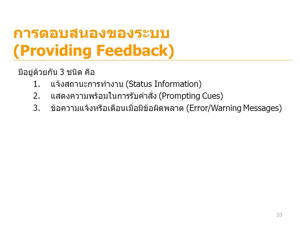 การตอบสนองของระบบ (Providing Feedback) มีอยู่ด้วยกัน 3 ชนิด คือ 1.แจ้งสถานะการทำงาน (Status Information) 2.แสดงความพร้อมในการรับคำสั่ง (Prompting Cues
