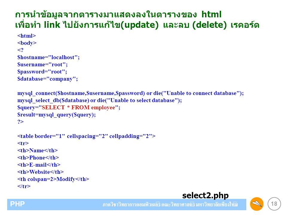 18 PHP ภาควิชาวิทยาการคอมพิวเตอร์ คณะวิทยาศาสตร์ มหาวิทยาลัยเชียงใหม่ การนำข้อมูลจากตารางมาแสดงลงในตารางของ html เพื่อทำ link ไปยังการแก้ไข(update) แล