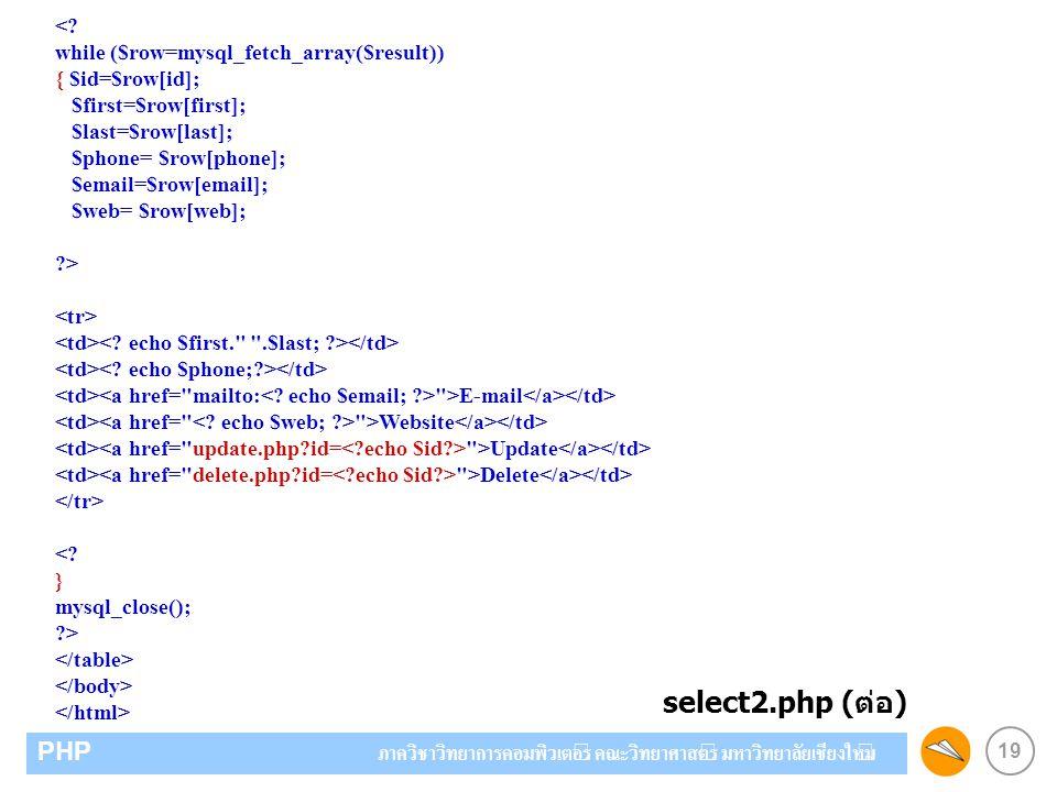 19 PHP ภาควิชาวิทยาการคอมพิวเตอร์ คณะวิทยาศาสตร์ มหาวิทยาลัยเชียงใหม่ <? while ($row=mysql_fetch_array($result)) { $id=$row[id]; $first=$row[first]; $