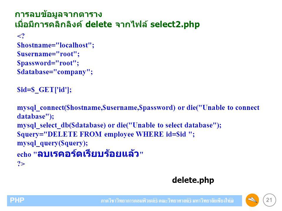 21 PHP ภาควิชาวิทยาการคอมพิวเตอร์ คณะวิทยาศาสตร์ มหาวิทยาลัยเชียงใหม่ การลบข้อมูลจากตาราง เมื่อมีการคลิกลิงค์ delete จากไฟล์ select2.php <? $hostname=