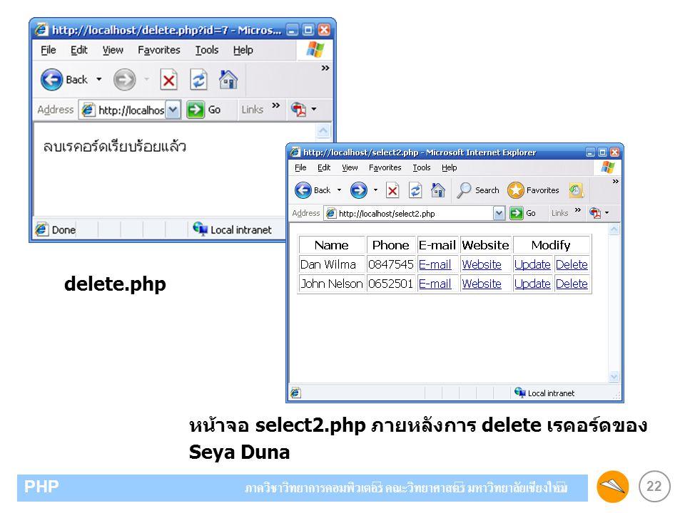 22 PHP ภาควิชาวิทยาการคอมพิวเตอร์ คณะวิทยาศาสตร์ มหาวิทยาลัยเชียงใหม่ delete.php หน้าจอ select2.php ภายหลังการ delete เรคอร์ดของ Seya Duna