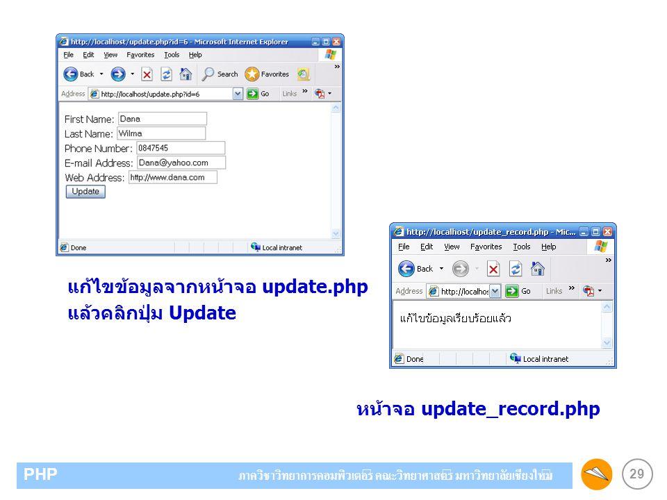 29 PHP ภาควิชาวิทยาการคอมพิวเตอร์ คณะวิทยาศาสตร์ มหาวิทยาลัยเชียงใหม่ แก้ไขข้อมูลจากหน้าจอ update.php แล้วคลิกปุ่ม Update หน้าจอ update_record.php