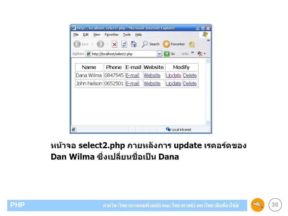 30 PHP ภาควิชาวิทยาการคอมพิวเตอร์ คณะวิทยาศาสตร์ มหาวิทยาลัยเชียงใหม่ หน้าจอ select2.php ภายหลังการ update เรคอร์ดของ Dan Wilma ซึ่งเปลี่ยนชื่อเป็น Da