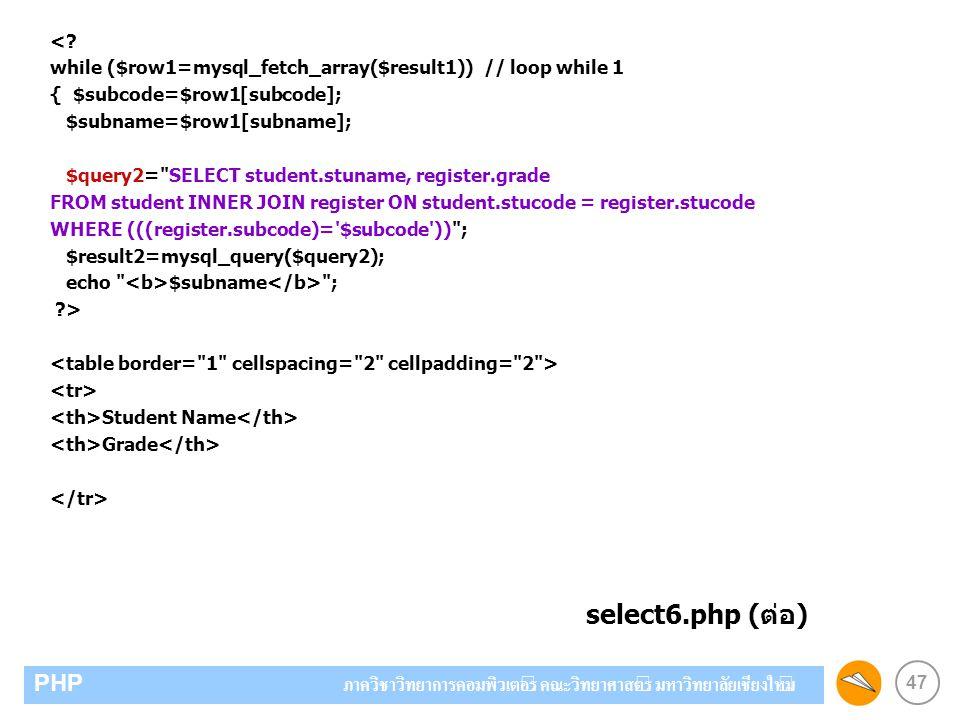 47 PHP ภาควิชาวิทยาการคอมพิวเตอร์ คณะวิทยาศาสตร์ มหาวิทยาลัยเชียงใหม่ <? while ($row1=mysql_fetch_array($result1)) // loop while 1 { $subcode=$row1[su
