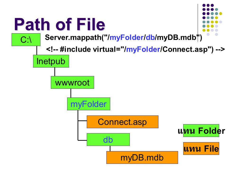 Path of File C:\ Inetpub wwwroot myFolder db Connect.asp แทน Folder แทน File myDB.mdb Server.mappath(