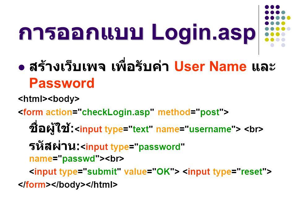 การออกแบบ Login.asp สร้างเว็บเพจ เพื่อรับค่า User Name และ Password ชื่อผู้ใช้ : รหัสผ่าน :