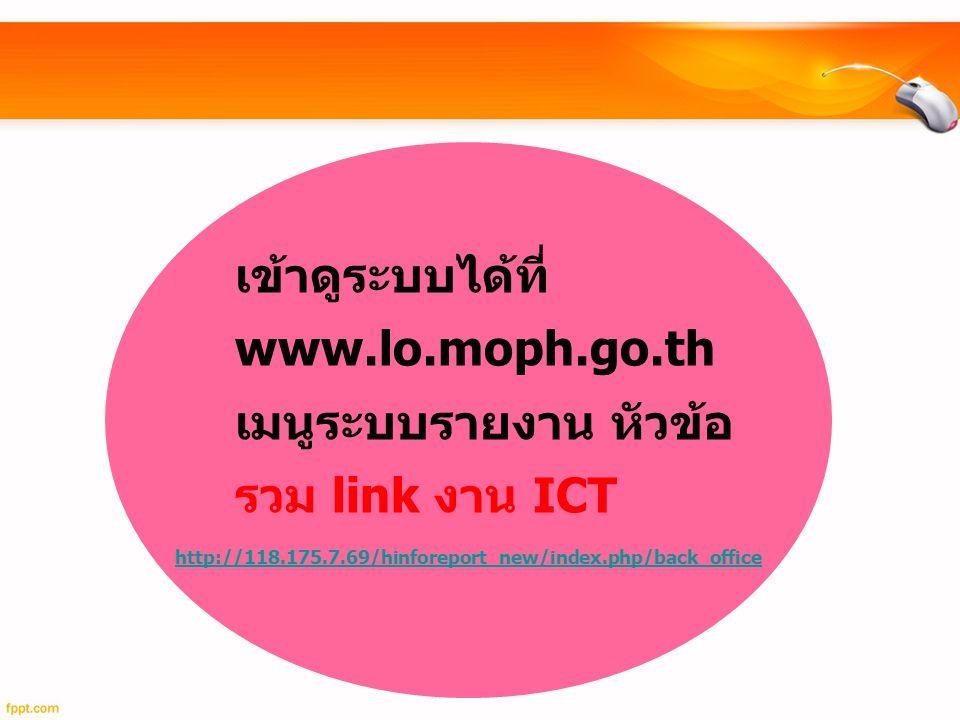 เข้าดูระบบได้ที่ www.lo.moph.go.th เมนูระบบรายงาน หัวข้อ รวม link งาน ICT http://118.175.7.69/hinforeport_new/index.php/back_office