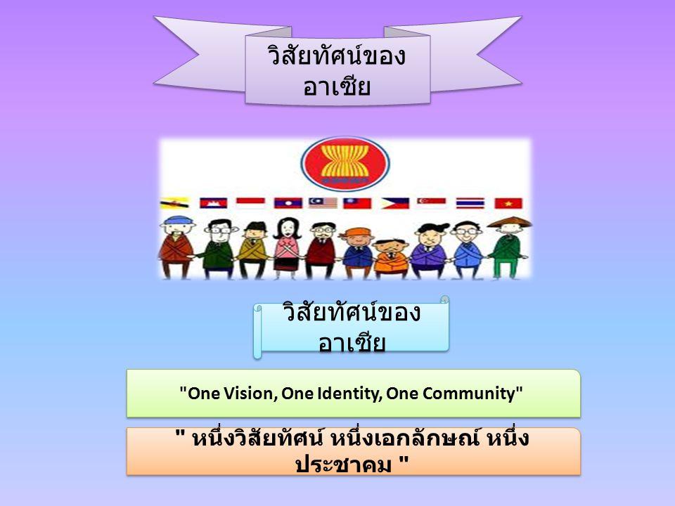 วิสัยทัศน์ของ อาเซีย วิสัยทัศน์ของ อาเซีย One Vision, One Identity, One Community หนึ่งวิสัยทัศน์ หนึ่งเอกลักษณ์ หนึ่ง ประชาคม
