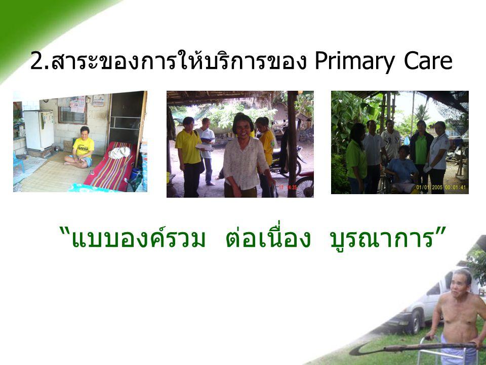 """2. สาระของการให้บริการของ Primary Care """" แบบองค์รวม ต่อเนื่อง บูรณาการ """""""