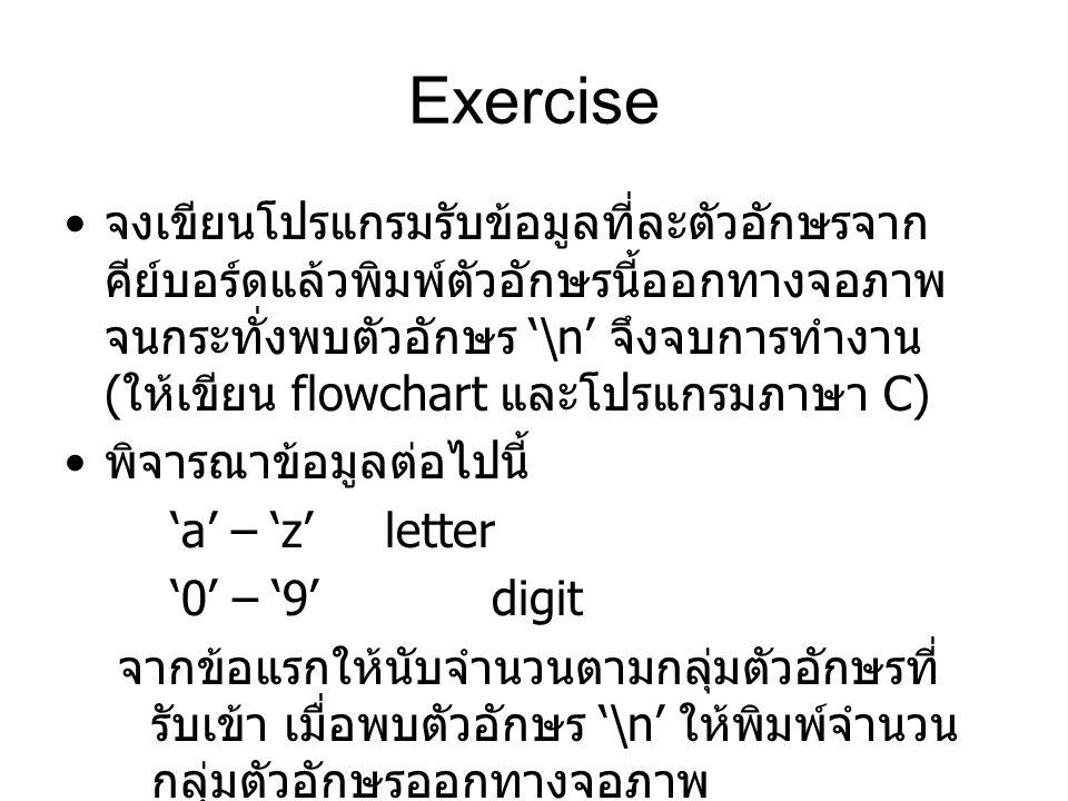 Exercise จงเขียนโปรแกรมรับข้อมูลที่ละตัวอักษรจาก คีย์บอร์ดแล้วพิมพ์ตัวอักษรนี้ออกทางจอภาพ จนกระทั่งพบตัวอักษร '\n' จึงจบการทำงาน ( ให้เขียน flowchart