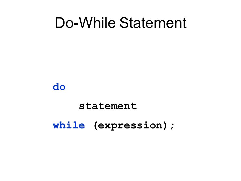 Do-While Statement do statement while (expression);