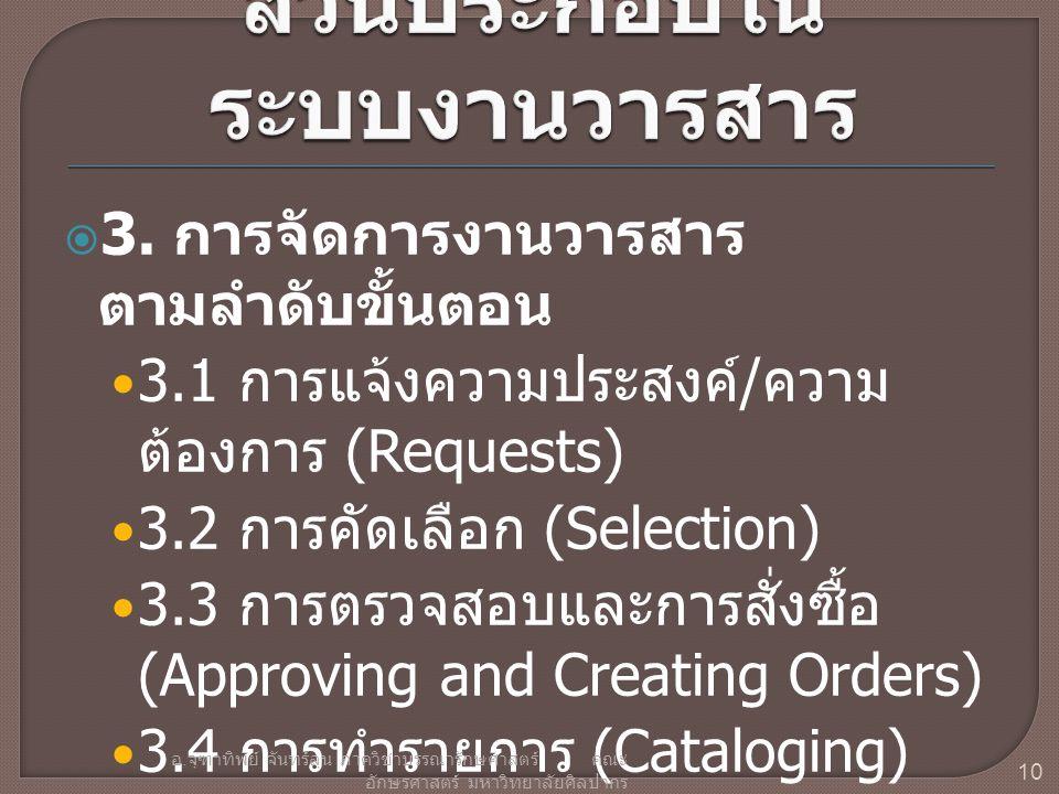  3. การจัดการงานวารสาร ตามลำดับขั้นตอน 3.1 การแจ้งความประสงค์ / ความ ต้องการ (Requests) 3.2 การคัดเลือก (Selection) 3.3 การตรวจสอบและการสั่งซื้อ (App