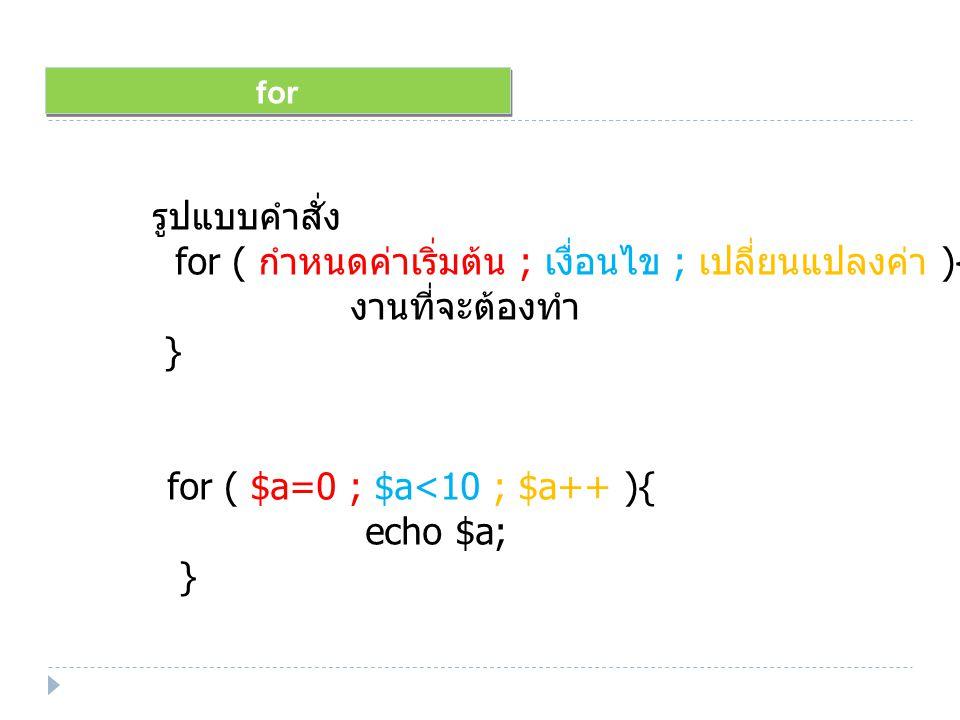 for รูปแบบคำสั่ง for ( กำหนดค่าเริ่มต้น ; เงื่อนไข ; เปลี่ยนแปลงค่า ){ งานที่จะต้องทำ } for ( $a=0 ; $a<10 ; $a++ ){ echo $a; }