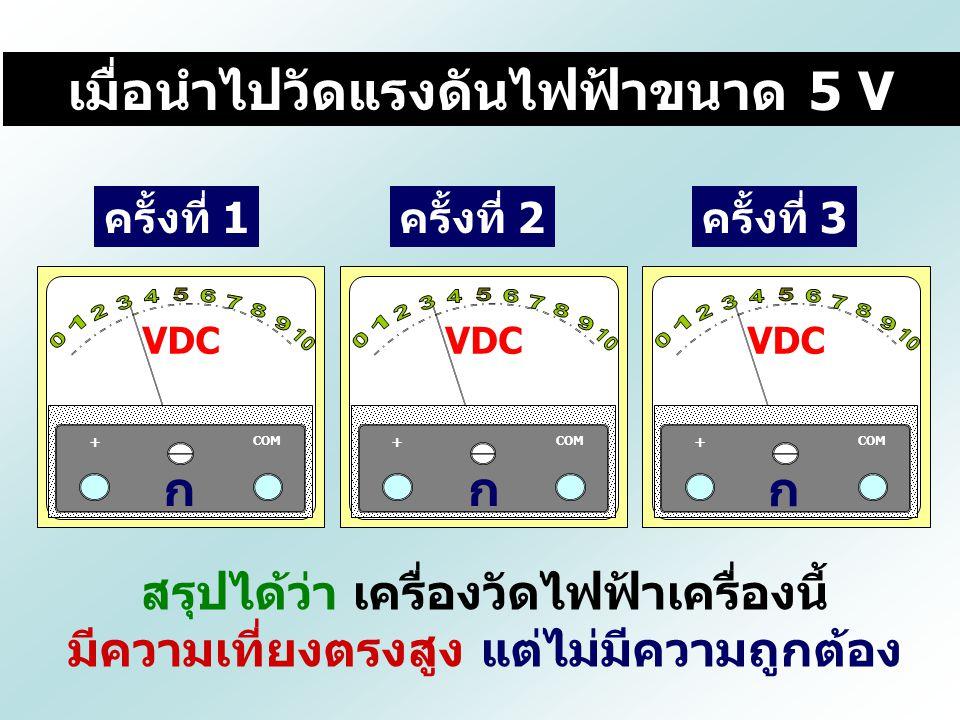 ครั้งที่ 1ครั้งที่ 2ครั้งที่ 3 สรุปได้ว่า เครื่องวัดไฟฟ้าเครื่องนี้ มีความเที่ยงตรงสูง แต่ไม่มีความถูกต้อง เมื่อนำไปวัดแรงดันไฟฟ้าขนาด 5 V VDC COM + ก