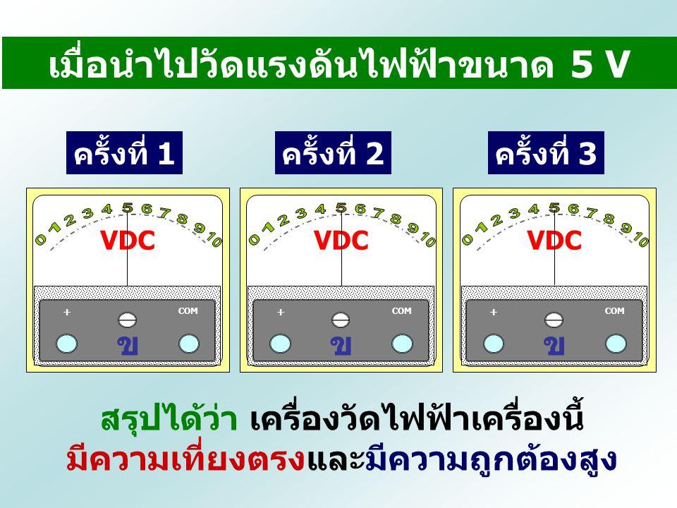 ครั้งที่ 1ครั้งที่ 2ครั้งที่ 3 สรุปได้ว่า เครื่องวัดไฟฟ้าเครื่องนี้ มีความเที่ยงตรงและมีความถูกต้องสูง เมื่อนำไปวัดแรงดันไฟฟ้าขนาด 5 V VDC COM + ข VDC