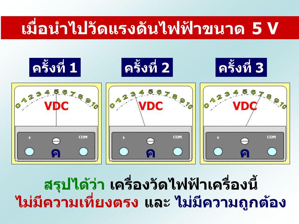 ครั้งที่ 1ครั้งที่ 2ครั้งที่ 3 สรุปได้ว่า เครื่องวัดไฟฟ้าเครื่องนี้ ไม่มีความเที่ยงตรง และ ไม่มีความถูกต้อง เมื่อนำไปวัดแรงดันไฟฟ้าขนาด 5 V VDC COM +