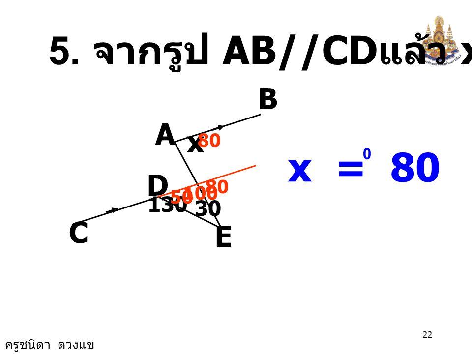 ครูชนิดา ดวงแข 21 4. จากรูป PQ//RS มี AB และ AC เป็นเส้นตัด จงหาขนาดของ CAB ˆ BCS AQP R 145 80 100 45 CMA ˆ = 45 0