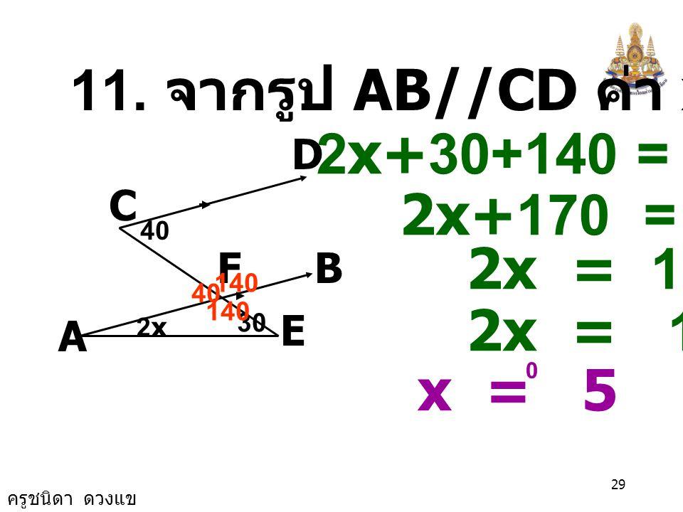 ครูชนิดา ดวงแข 28 10. จากรูป AB//CP,BE//PQ หาค่า x, y A BDE QP C x+20 x+2y 73 x+20 = 73 x = 73-20 x = 53 x+2y = x+20 53+2y = 53+20 2y = 73-53 2y = 20