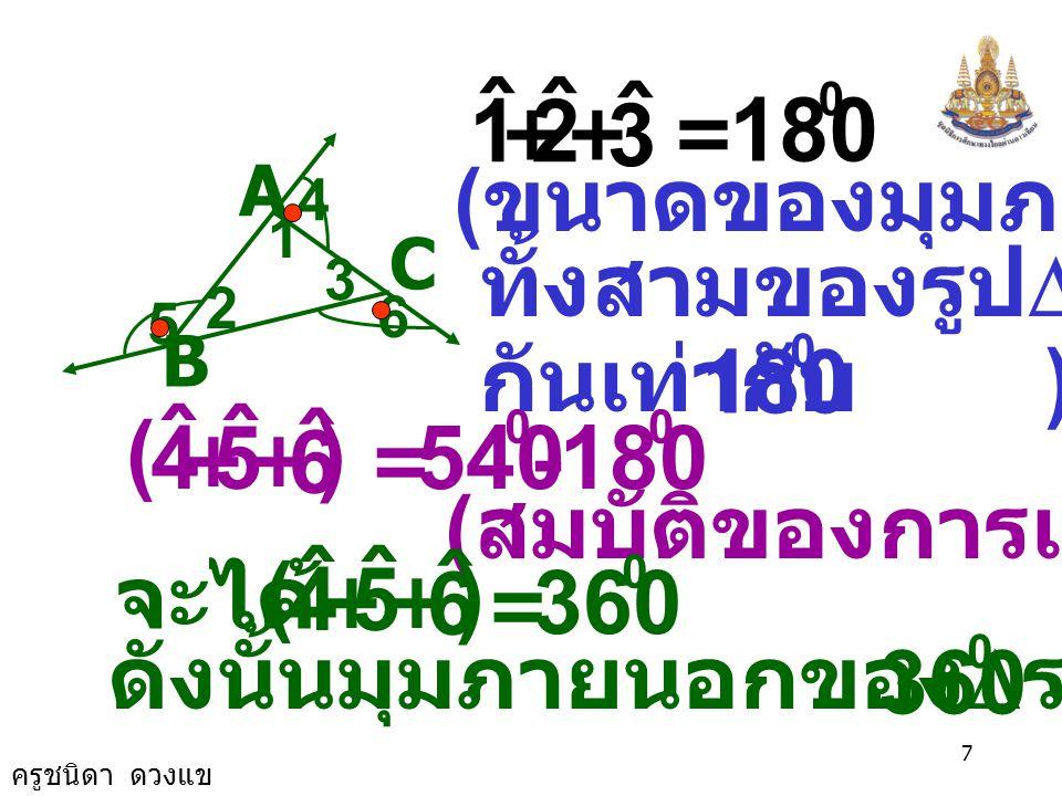 ครูชนิดา ดวงแข 6 A C B 1 2 3 4 6 5  ABC เป็นรูป สามเหลี่ยมใดๆ 1 ˆ = 180 0 4 ˆ + 2 ˆ = 0 5 ˆ + ( ขนาดของมุมตรง ) 3 ˆ = 180 0 6 ˆ + 1 ˆ 4 ˆ + ( ) + 2 ˆ