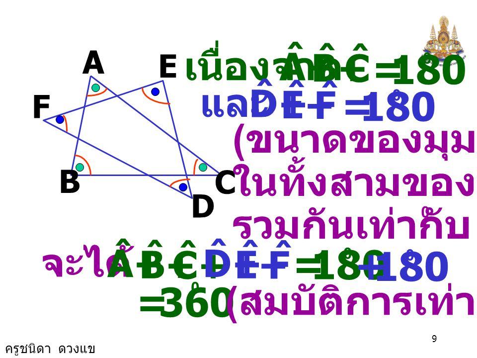 ครูชนิดา ดวงแข 8 9. รูปดาวหกแฉกตามตัวอย่างดังรูปมี มุมภายในที่จุดยอด 6 มุม คือ และ A, ˆ B ˆ C, ˆ D, ˆ E, ˆ F ˆ จงพิสูจน์ว่าขนาด ของมุมภายในที่จุด ยอดท