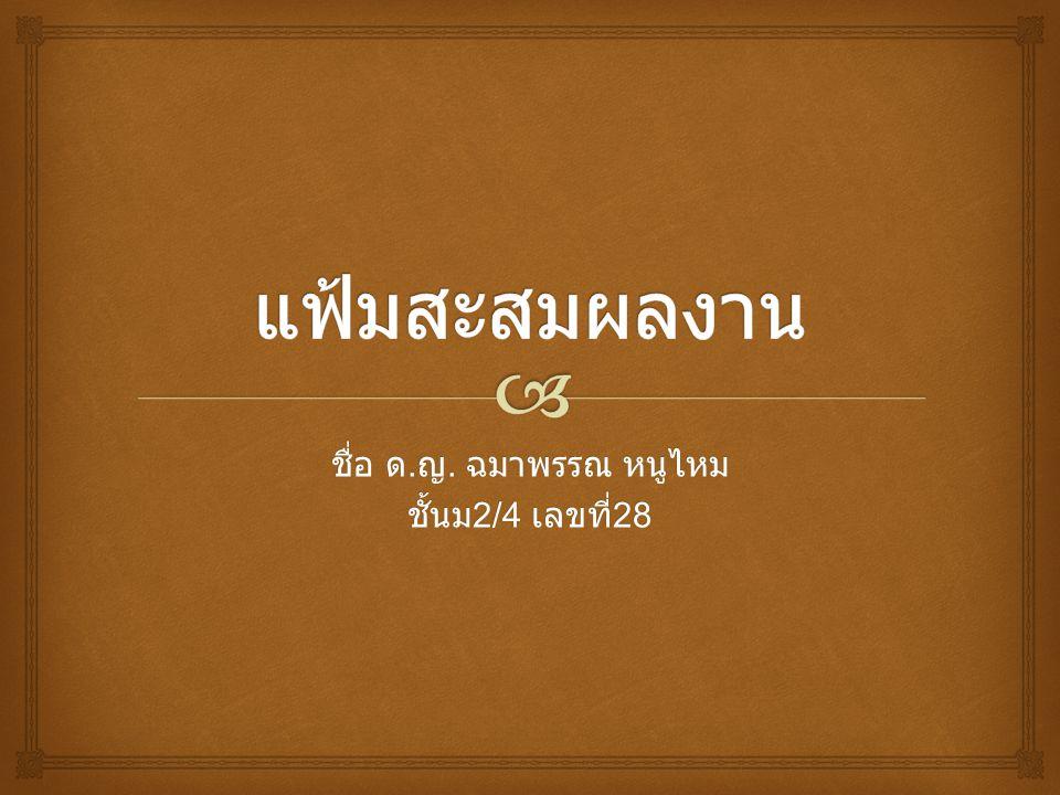  ประวัติส่วนตัว  ชื่อ ด.ญ. ฉมาพรรณ หนูไหม  วันเดือนปีเกิด 24 มิถุนายน 2543  ที่อยู่ 289 ต.