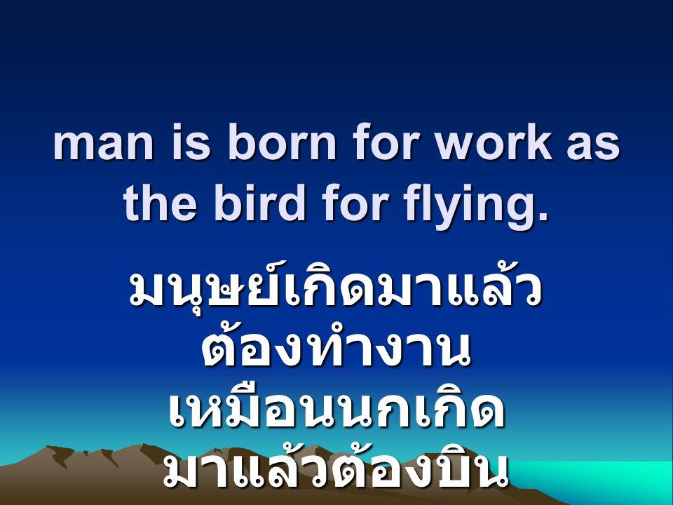 man is born for work as the bird for flying. มนุษย์เกิดมาแล้ว ต้องทำงาน เหมือนนกเกิด มาแล้วต้องบิน
