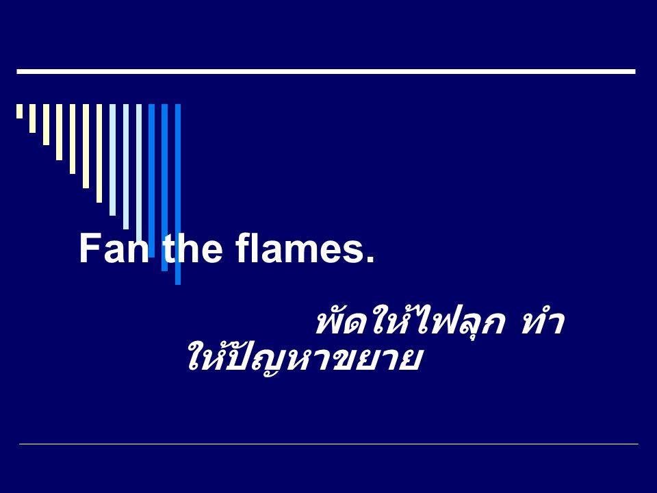 Fan the flames. พัดให้ไฟลุก ทำ ให้ปัญหาขยาย