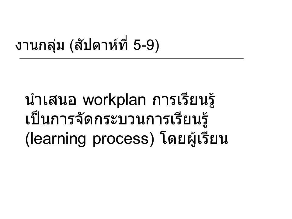 งานกลุ่ม ( สัปดาห์ที่ 5-9) นำเสนอ workplan การเรียนรู้ เป็นการจัดกระบวนการเรียนรู้ (learning process) โดยผู้เรียน