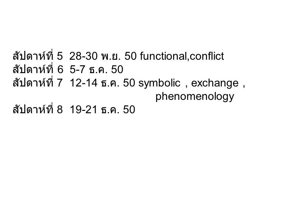 สัปดาห์ที่ 5 28-30 พ.ย. 50 functional,conflict สัปดาห์ที่ 6 5-7 ธ.