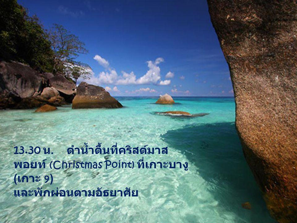 13.30 น. ดำน้ำตื้นที่คริสต์มาส พอยท์ (Christmas Point) ที่เกาะบางู ( เกาะ 9 ) และพักผ่อนตามอัธยาศัย