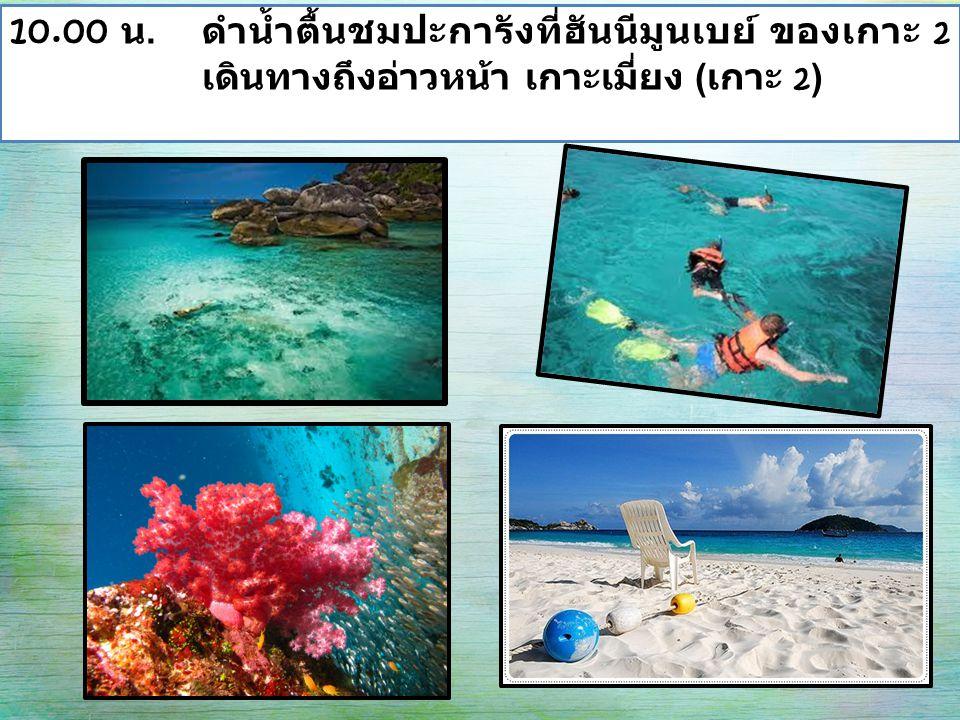 10.00 น. ดำน้ำตื้นชมปะการังที่ฮันนีมูนเบย์ ของเกาะ 2 เดินทางถึงอ่าวหน้า เกาะเมี่ยง ( เกาะ 2 )