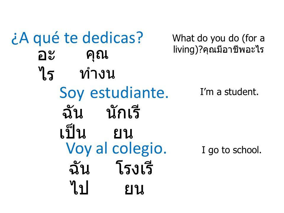 ¿A qué te dedicas? What do you do (for a living)? คุณมีอาชีพอะไร อะ ไร Soy estudiante. I'm a student. คุณ ทำงน ฉัน เป็น นักเรี ยน Voy al colegio. I go