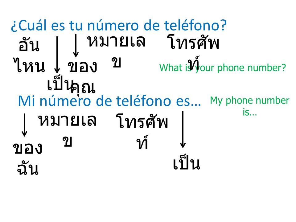 ¿Cuál es tu número de teléfono? What is your phone number? อัน ไหน Mi número de teléfono es… My phone number is… ของ ฉัน หมายเล ข โทรศัพ ท์ ของ คุณ โท