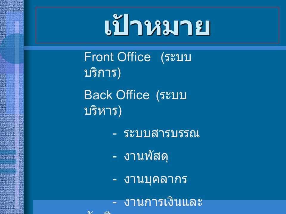 นโยบายเทคโนโลยีสารสนเทศ แห่งประเทศไทย 2010 ระยะ ที่ 1 ระยะ ที่ 2 ระยะ ที่ 3 ระยะ ที่ 4 ทุกหน่วยงานมี WEBSITE การโต้ตอบทาง E- mail แบบฟอร์มอัตโนมัติ หน่วยงานเชื่อมโยงกันได้ อย่างสมบูรณ์