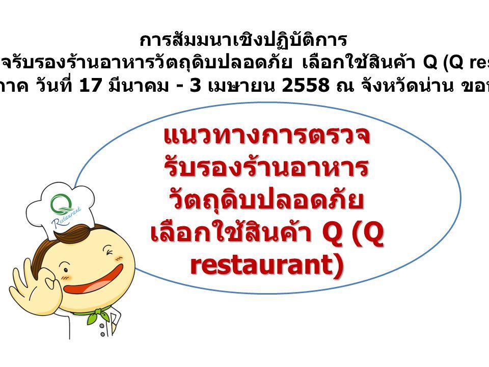 แนวทางการตรวจ รับรองร้านอาหาร วัตถุดิบปลอดภัย เลือกใช้สินค้า Q (Q restaurant) การสัมมนาเชิงปฏิบัติการ คณะผู้ตรวจรับรองร้านอาหารวัตถุดิบปลอดภัย เลือกใช้สินค้า Q (Q restaurant) ในระดับภูมิภาค วันที่ 17 มีนาคม - 3 เมษายน 2558 ณ จังหวัดน่าน ขอนแก่น กระบี่