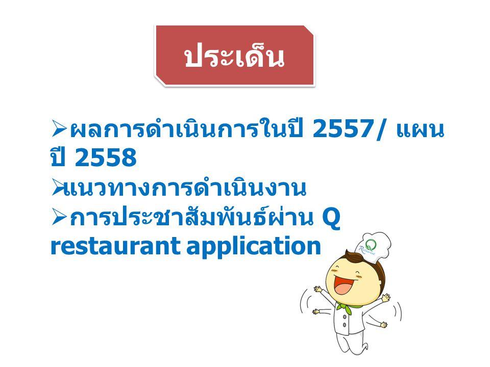 ประเด็น  ผลการดำเนินการในปี 2557/ แผน ปี 2558  แนวทางการดำเนินงาน  การประชาสัมพันธ์ผ่าน Q restaurant application
