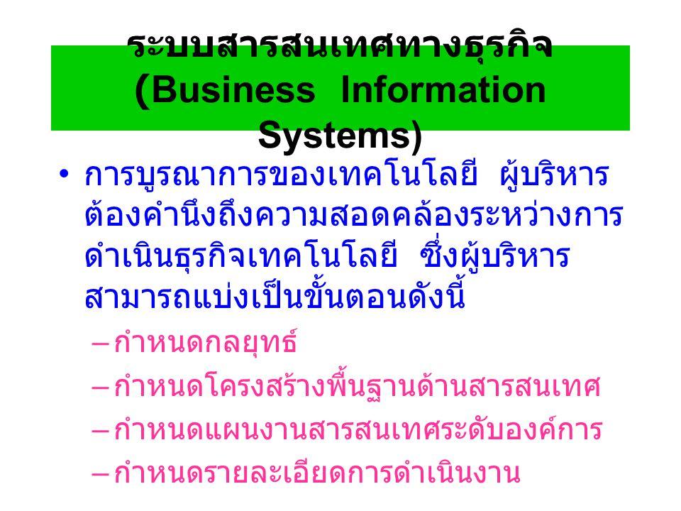 ระบบสารสนเทศทางธุรกิจ (Business Information Systems) การบูรณาการของเทคโนโลยี ผู้บริหาร ต้องคำนึงถึงความสอดคล้องระหว่างการ ดำเนินธุรกิจเทคโนโลยี ซึ่งผู