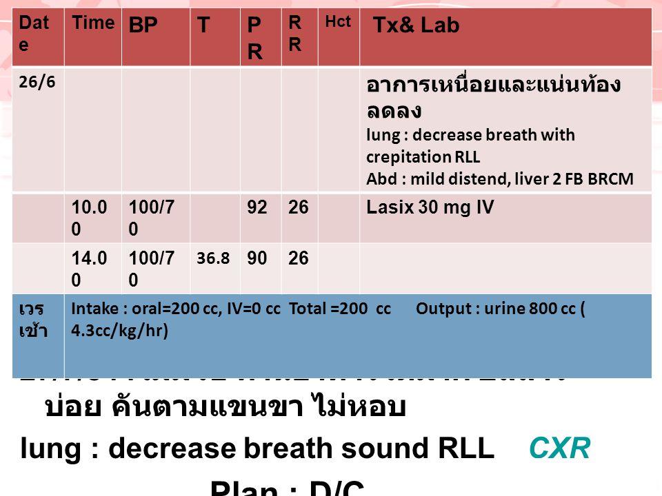 , 27/7/54 : ไม่มีไข้ ทานอาหารได้มาก ปัสสาวะ บ่อย คันตามแขนขา ไม่หอบ lung : decrease breath sound RLL CXRCXR Plan : D/C Dat e Time BPTPRPRR Hct Tx& Lab