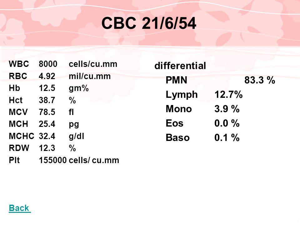 CBC 21/6/54 WBC 8000 cells/cu.mm RBC4.92mil/cu.mm Hb12.5gm% Hct38.7% MCV78.5fl MCH25.4pg MCHC32.4g/dl RDW12.3% Plt155000 cells/ cu.mm Back differentia