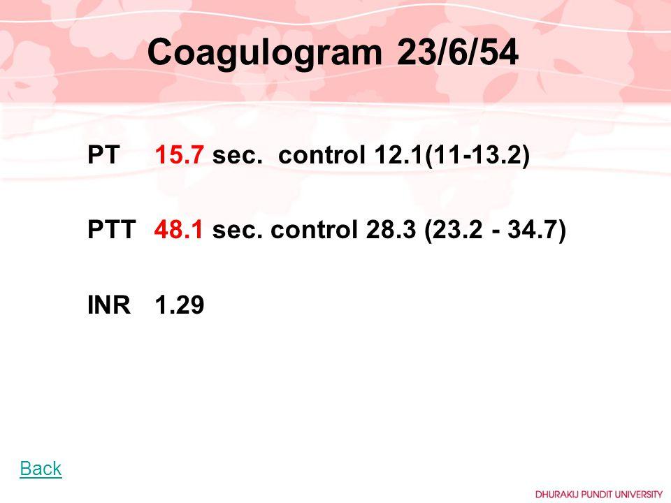 Coagulogram 23/6/54 PT15.7 sec. control 12.1(11-13.2) PTT48.1 sec. control 28.3 (23.2 - 34.7) INR 1.29 Back