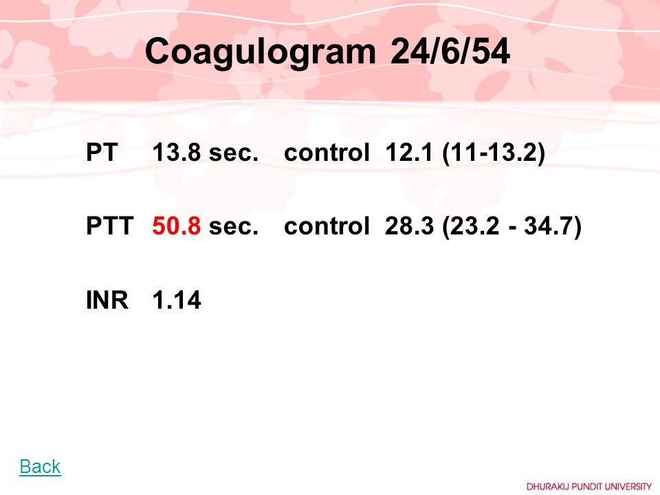 Coagulogram 24/6/54 PT13.8 sec.control 12.1 (11-13.2) PTT50.8 sec.control 28.3 (23.2 - 34.7) INR 1.14 Back