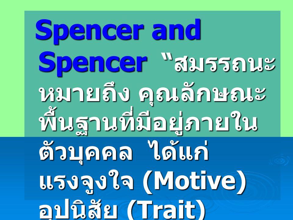 Spencer and Spencer สมรรถนะ หมายถึง คุณลักษณะ พื้นฐานที่มีอยู่ภายใน ตัวบุคคล ได้แก่ แรงจูงใจ (Motive) อุปนิสัย (Trait) Spencer and Spencer สมรรถนะ หมายถึง คุณลักษณะ พื้นฐานที่มีอยู่ภายใน ตัวบุคคล ได้แก่ แรงจูงใจ (Motive) อุปนิสัย (Trait) อัตมโนทัศน์ (Self- Concept) ความรู้ (Knowledge) และ ทักษะ (Skill) อัตมโนทัศน์ (Self- Concept) ความรู้ (Knowledge) และ ทักษะ (Skill)