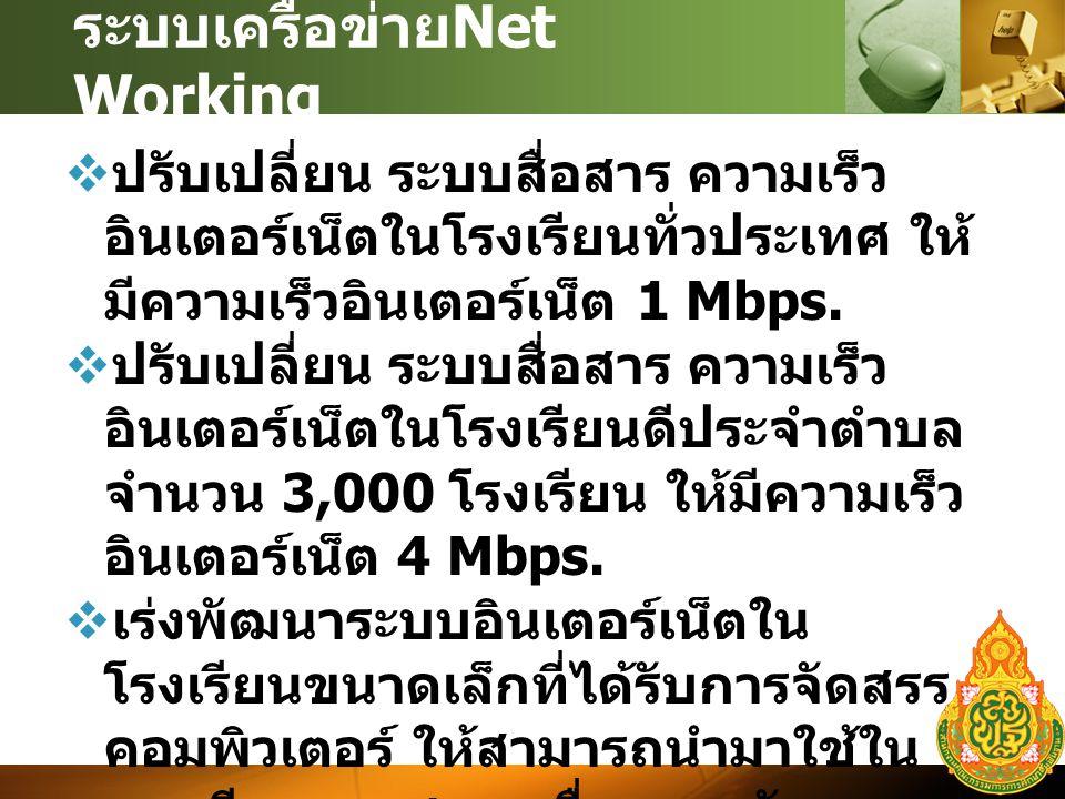 ระบบเครือข่าย Net Working  ปรับเปลี่ยน ระบบสื่อสาร ความเร็ว อินเตอร์เน็ตในโรงเรียนทั่วประเทศ ให้ มีความเร็วอินเตอร์เน็ต 1 Mbps.
